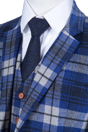 Blue Madras Tweed 3 Piece