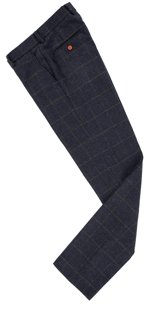 Navy Windowpane Tweed Trousers