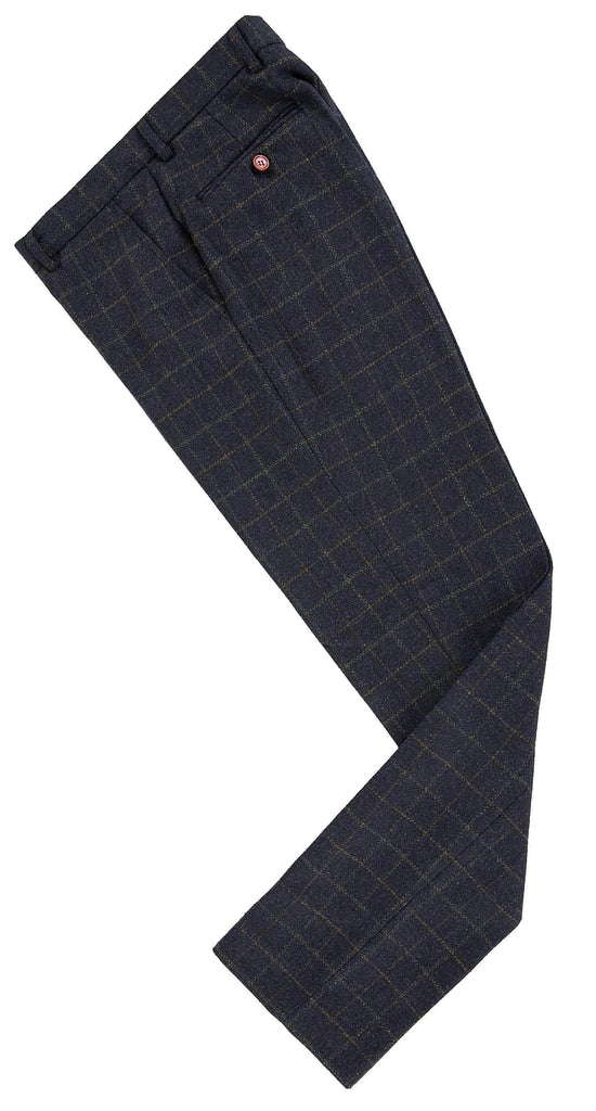 Navy Tattersall Tweed Trousers