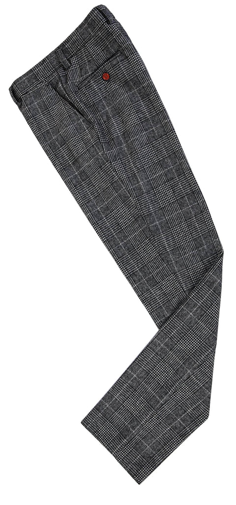 Grey Houndstooth Plaid Tweed Trousers