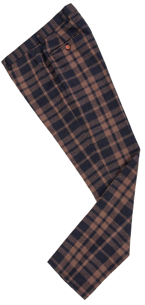 Brown Navy Plaid Tweed Trousers