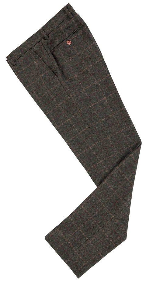 Dark Green Tattersall Tweed Trousers