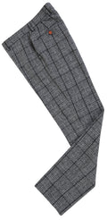 Light Grey Houndstooth Plaid Tweed Trousers