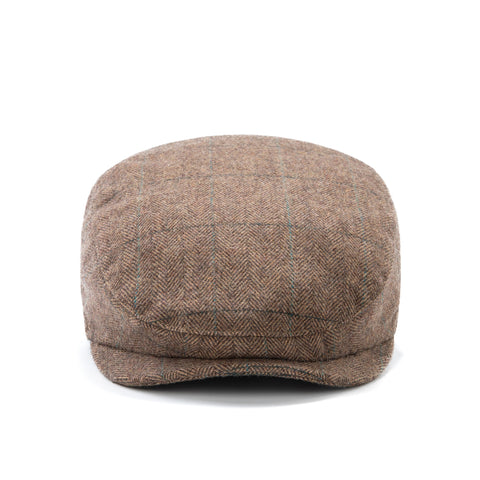 Traditional Brown Estate Herringbone Tweed Flat Cap