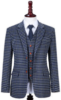 Grey Blue Gingham Tweed Jacket
