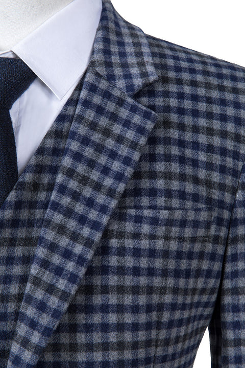 Grey Blue Gingham Tweed  3 Piece Suit