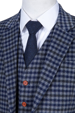 Grey Blue Gingham Tweed 3 Piece