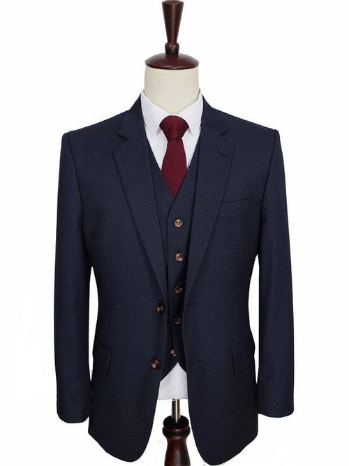 Navy Worsted Wool 3 Piece Suit