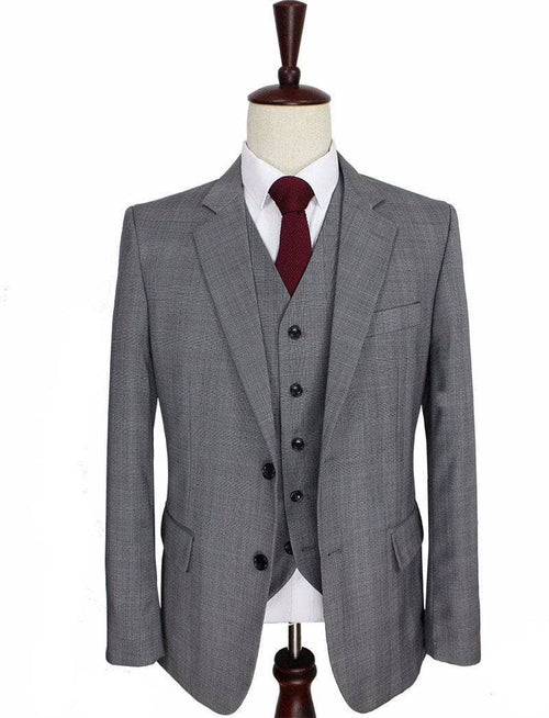 Grey Prince of Wales Check Worsted Wool 3 Piece Suit