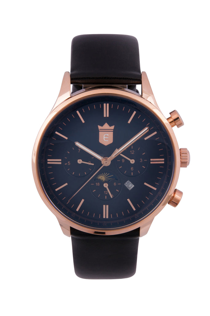 Black Leather Quartz Dress Watch - Rose Gold