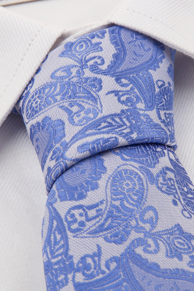 Blue Paisley Tie & Pocket Square