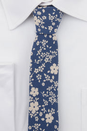 Blue Floral Tie on shirt