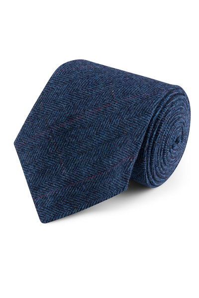 Blue Estate Herringbone Tweed Tie