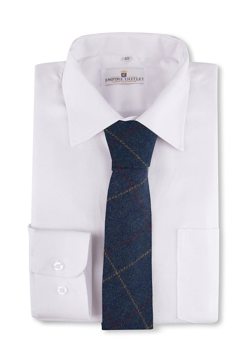 Blue Overcheck Twill Tweed Tie on a shirt