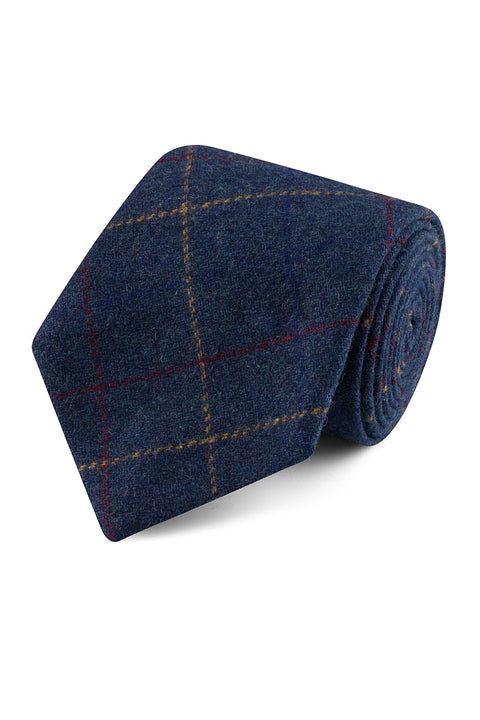 Blue Overcheck Twill Tweed Tie