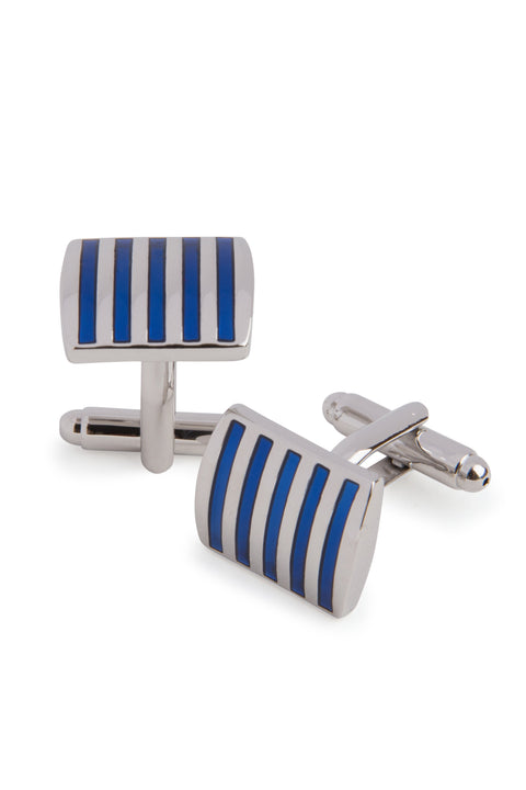 Blue Striped Rectangle Cufflinks