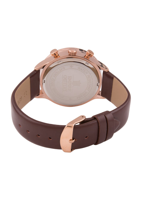 Brown Leather Quartz Dress Watch - Rose Gold