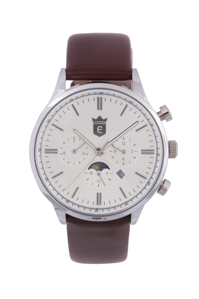 Brown Leather Quartz Dress Watch - Silver