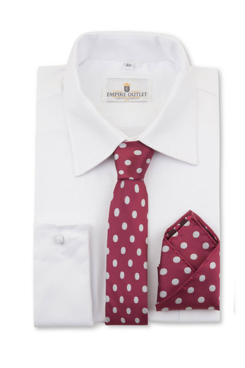 Burgundy Polka Dot Tie & Pocket Square
