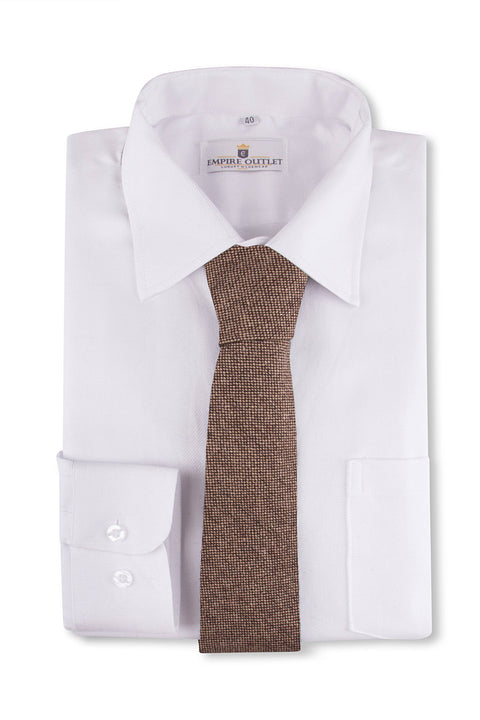 Classic Brown Barleycorn Tweed Tie on a white wedding shirt