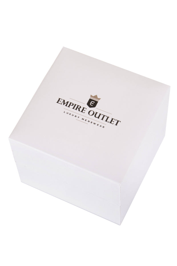 Silver Knot Cufflinks in a closed gift box from Empire Outlet luxury menswear
