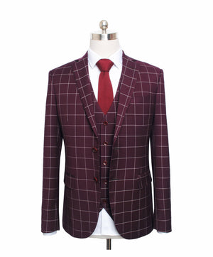Wine Red Windowpane Jacket