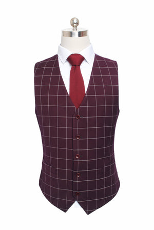 Wine Red Windowpane 3 Piece