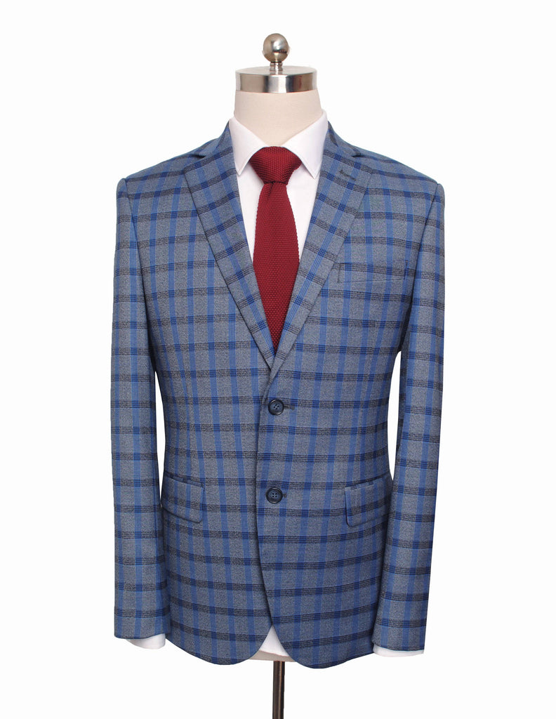 Grey Blue Windowpane Plaid Jacket