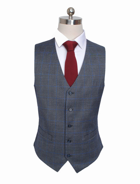 Grey Windowpane Plaid Waistcoat