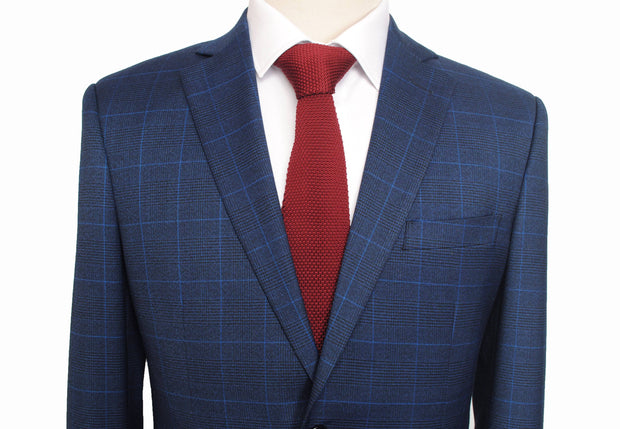 Navy Windowpane Plaid 3 Piece