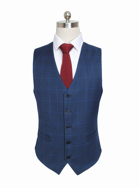 Navy Windowpane Plaid Waistcoat