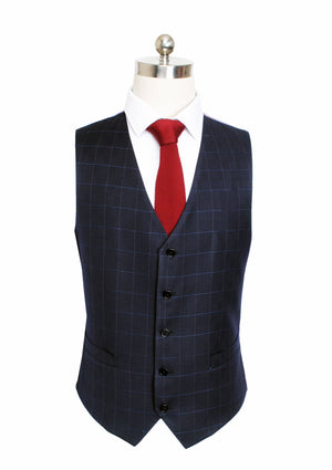 Dark Navy Windowpane 3 Piece