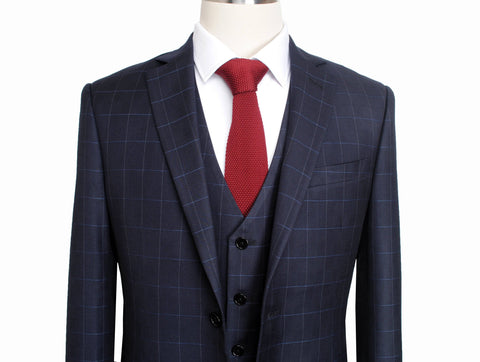 Dark Navy Windowpane  3 Piece Suit