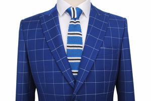 Dark Blue Windowpane Jacket