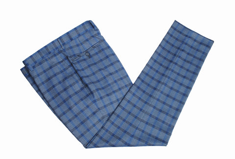 Grey Blue Windowpane Plaid Trousers