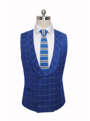 Dark Blue Windowpane 3 Piece