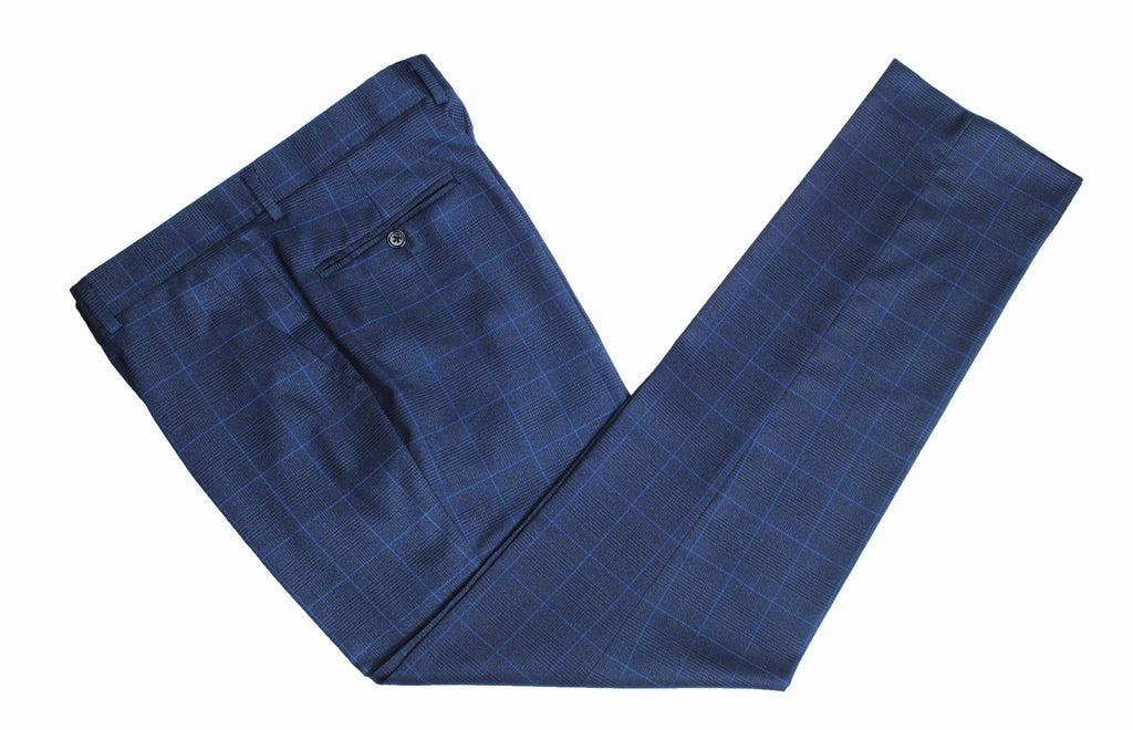Navy Windowpane Plaid Trousers