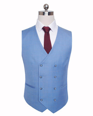 Sky Blue Windowpane 3 Piece