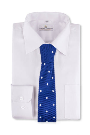 Royal Blue White Spot Knitted Tie