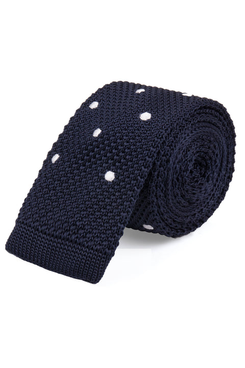 Navy White Spot Knitted Tie