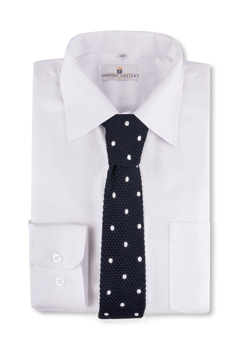 Navy White Spot Knitted Tie  on a White shirt