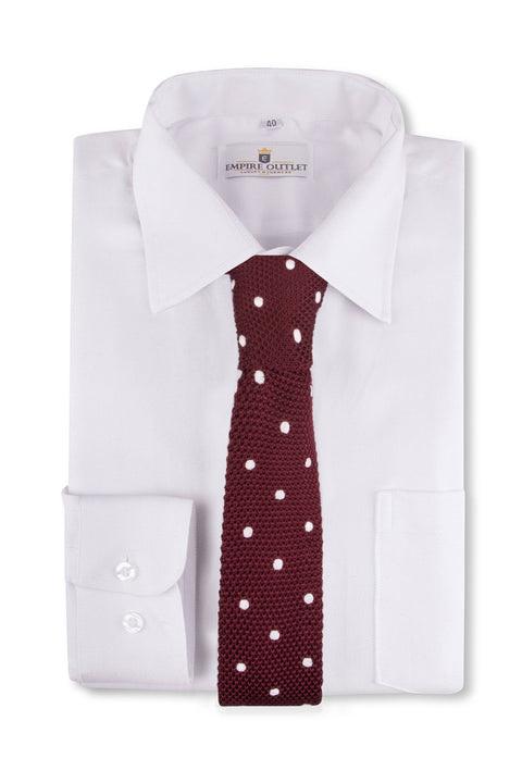 Burgundy White Spot Knitted Tie