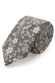 Grey Floral Linen Tie by Empire Outlet Luxury Menswear
