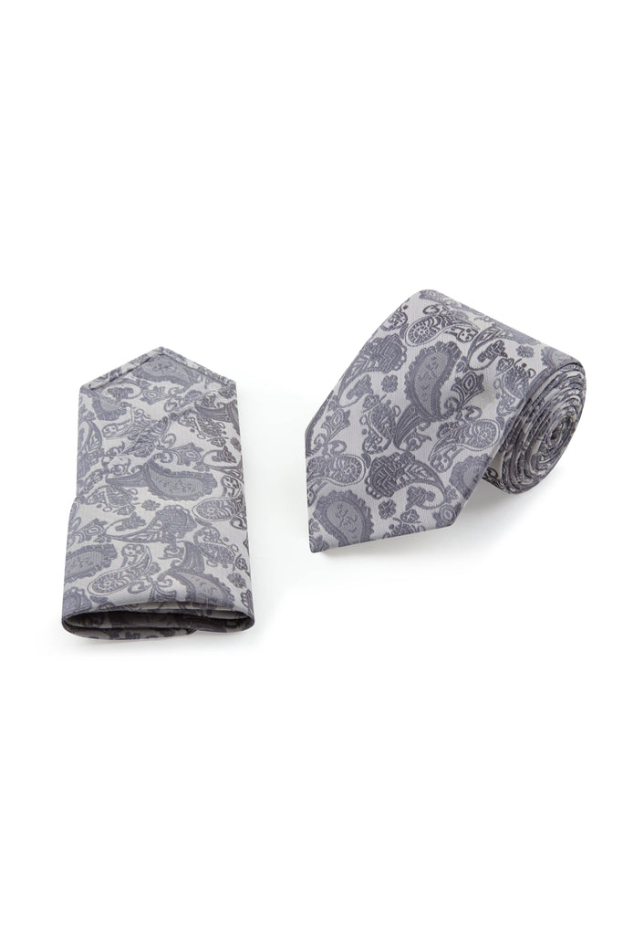 Grey Paisley Tie & Pocket Square