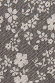 Close up of Grey Floral Linen Tie by Empire Outlet Luxury Menswear