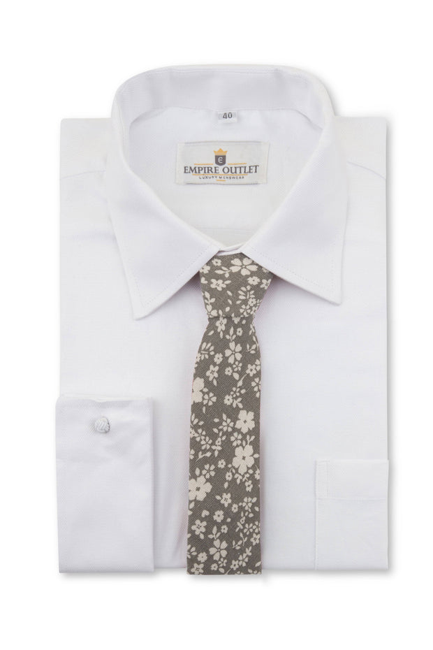 Grey Floral Linen Tie on a white shirt
