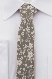 Close up of Grey Floral Linen Tie on a white shirt