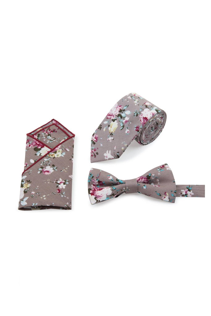 Grey Floral Tie, Bow Tie & Pocket Square Set