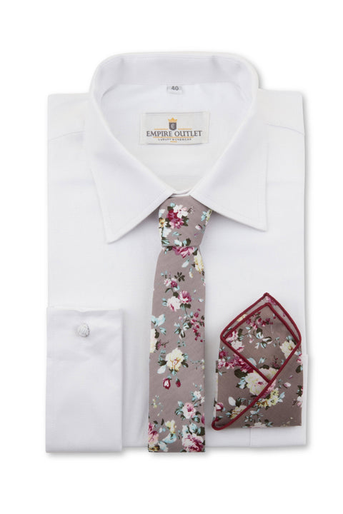 Close up of Grey Floral Tie, Bow Tie & Pocket Square Set  on a shirt