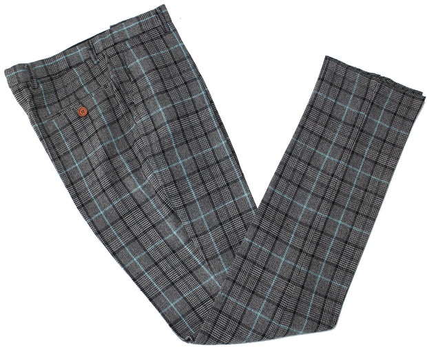Grey Sky Blue Houndstooth Tweed Trousers